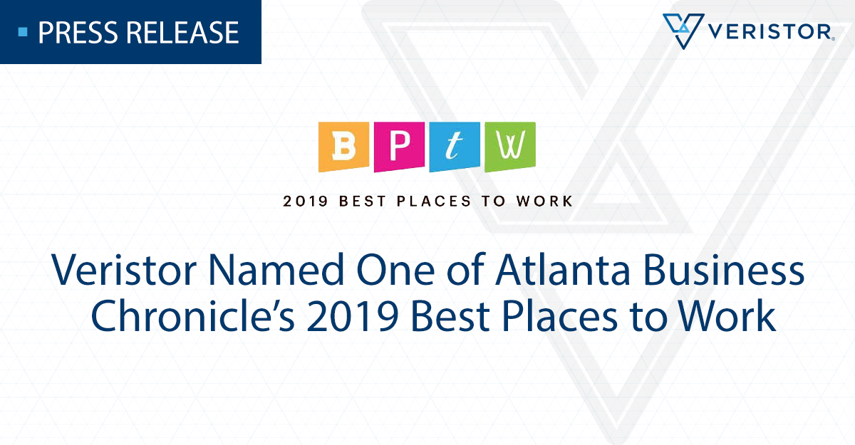 Veristor Named One of Atlanta Business Chronicle's 2019 Best Places to Work